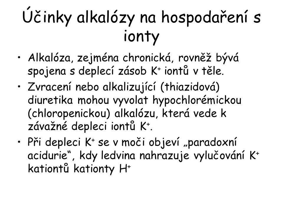 Účinky alkalózy na hospodaření s ionty Alkalóza, zejména chronická, rovněž bývá spojena s deplecí zásob K + iontů v těle. Zvracení nebo alkalizující (