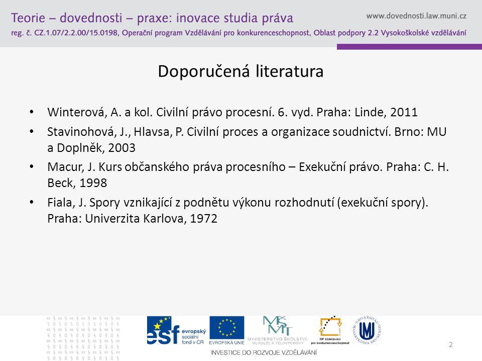 Doporučená literatura Winterová, A. a kol. Civilní právo procesní. 6. vyd. Praha: Linde, 2011 Stavinohová, J., Hlavsa, P. Civilní proces a organizace