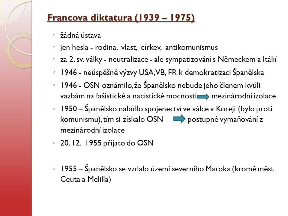 1956 uvnitř Španělska - sociální problémy spojené s protesty - odpor k režimu 1959 - se formuje ETA (Euskadi ta Askatasuna = Baskicko a svoboda) - později se proměnila v teroristickou organizaci V 60.
