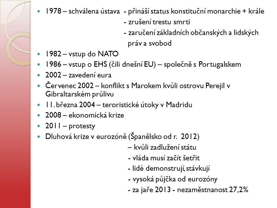 1978 – schválena ústava - přináší status konstituční monarchie + krále - zrušení trestu smrti - zaručení základních občanských a lidských práv a svobo