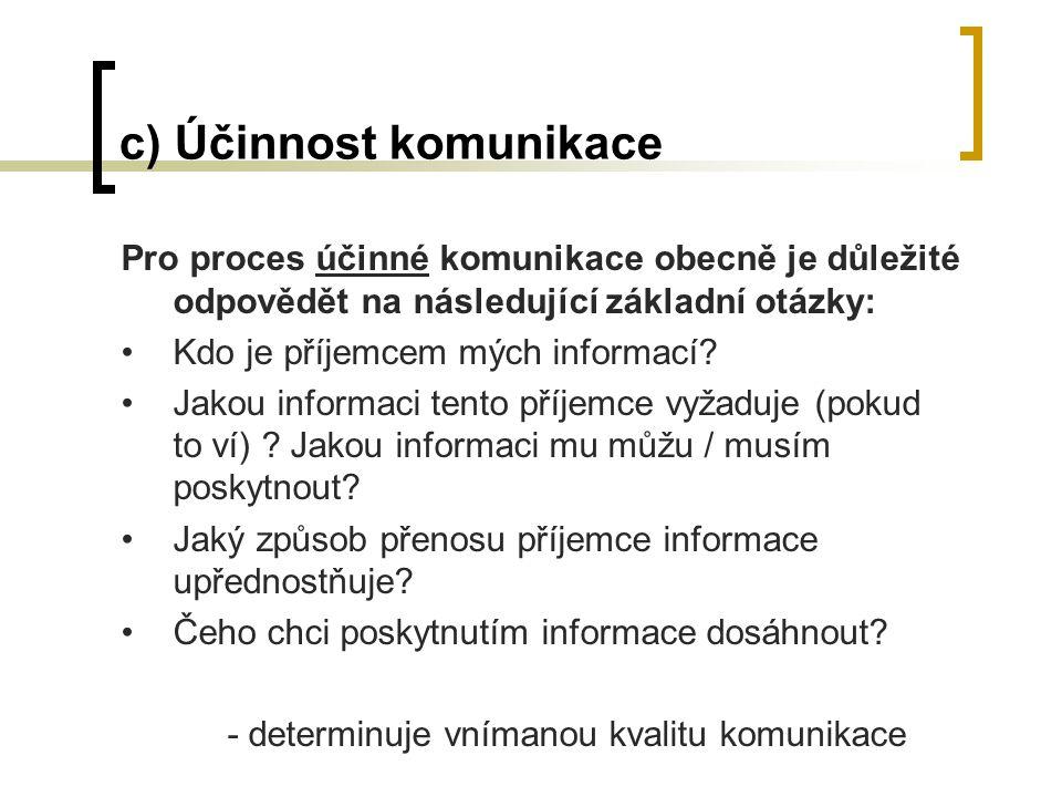 c) Účinnost komunikace Pro proces účinné komunikace obecně je důležité odpovědět na následující základní otázky: Kdo je příjemcem mých informací.