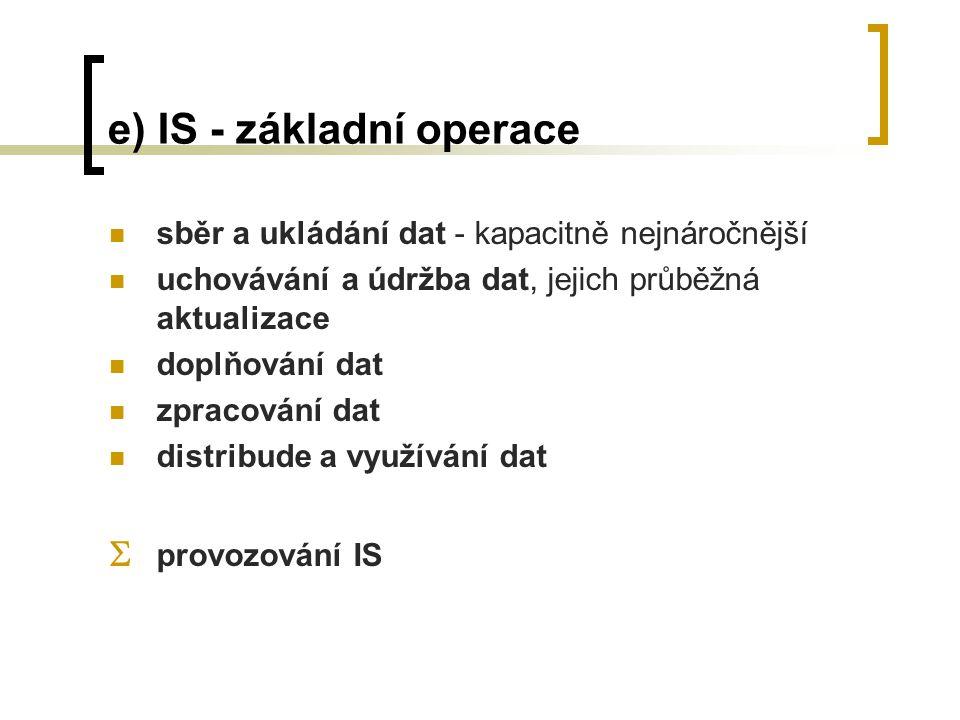 e) IS - základní operace sběr a ukládání dat - kapacitně nejnáročnější uchovávání a údržba dat, jejich průběžná aktualizace doplňování dat zpracování dat distribude a využívání dat  provozování IS