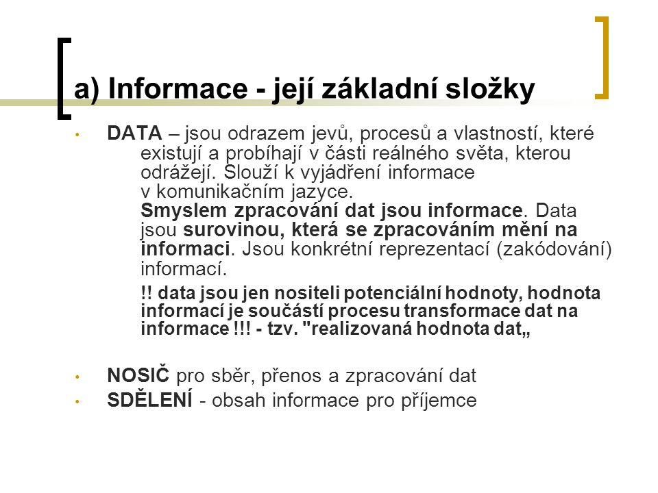 e) IS - příklady definic Smejkal definuje jako informační systém všechny způsoby, kterými dochází k uchovávání informací, příp.