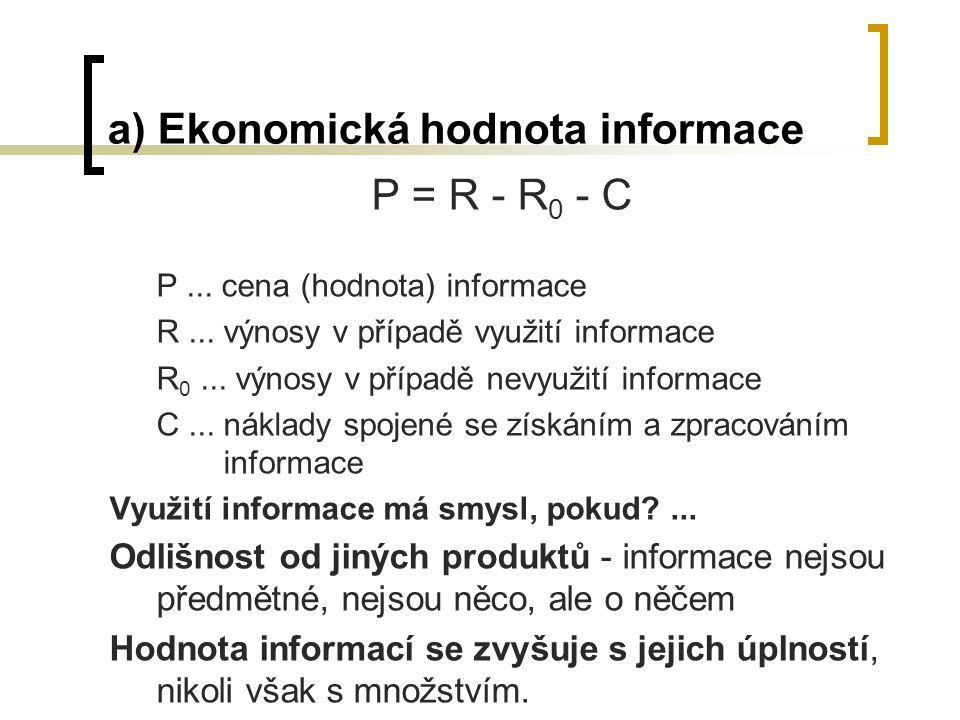 a) Ekonomická hodnota informace P = R - R 0 - C P...