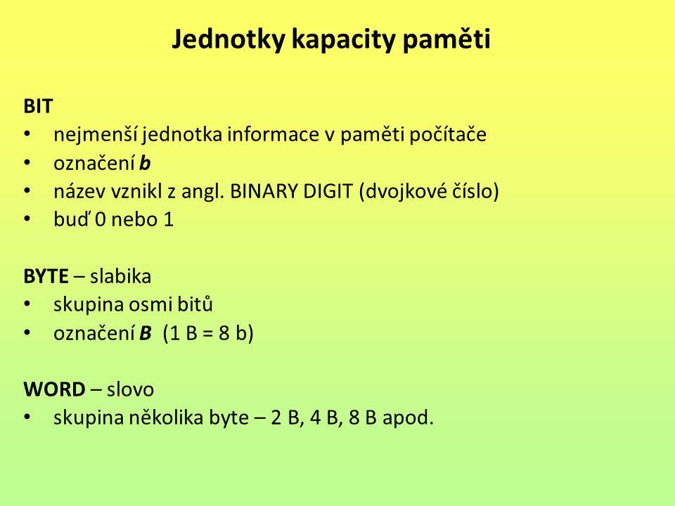 BIT nejmenší jednotka informace v paměti počítače označení b název vznikl z angl. BINARY DIGIT (dvojkové číslo) buď 0 nebo 1 BYTE – slabika skupina os