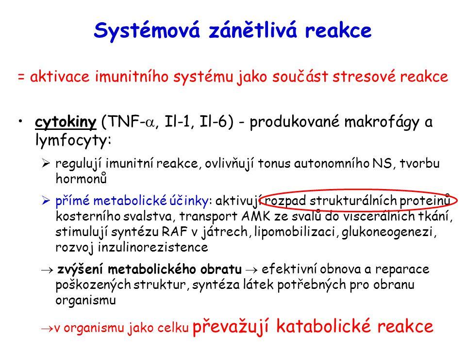 Systémová zánětlivá reakce = aktivace imunitního systému jako součást stresové reakce cytokiny (TNF- , Il-1, Il-6) - produkované makrofágy a lymfocyt