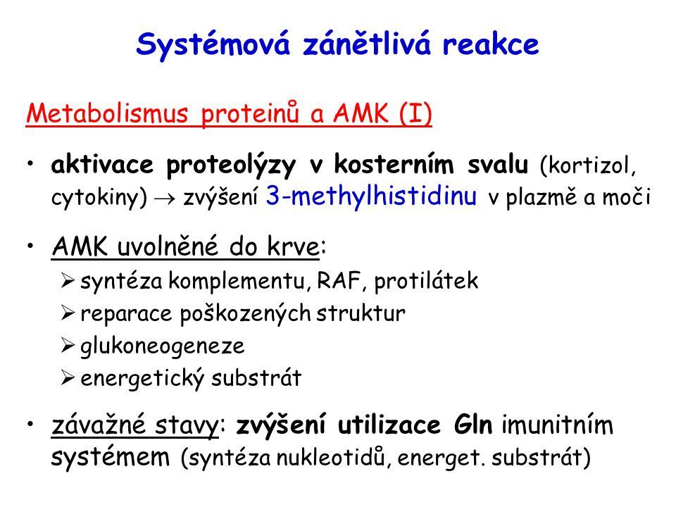 Systémová zánětlivá reakce Metabolismus proteinů a AMK (I) aktivace proteolýzy v kosterním svalu (kortizol, cytokiny)  zvýšení 3-methylhistidinu v pl