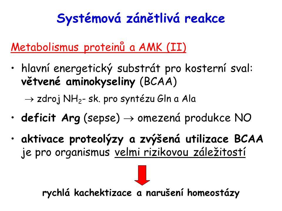 Systémová zánětlivá reakce Metabolismus proteinů a AMK (II) hlavní energetický substrát pro kosterní sval: větvené aminokyseliny (BCAA)  zdroj NH 2 -