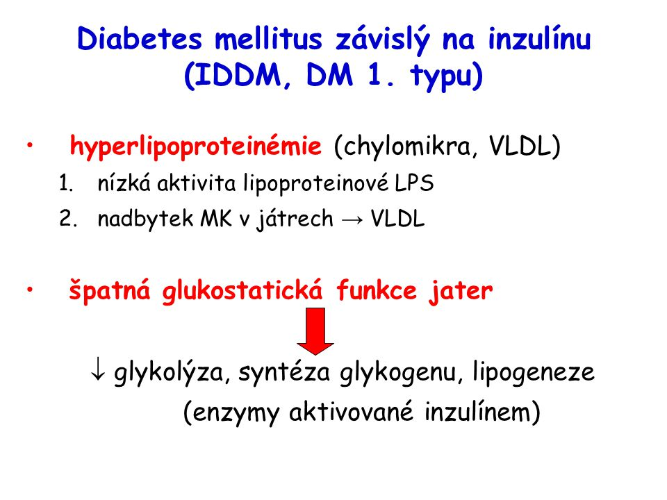 Diabetes mellitus závislý na inzulínu (IDDM, DM 1. typu) hyperlipoproteinémie (chylomikra, VLDL) 1.nízká aktivita lipoproteinové LPS 2.nadbytek MK v j