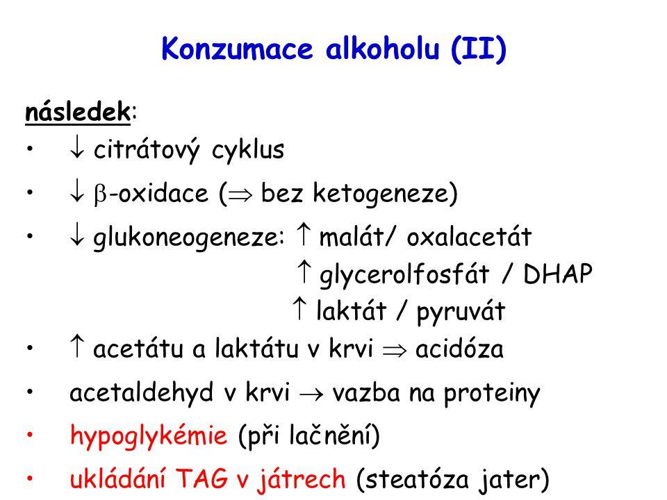 Konzumace alkoholu (II) následek:  citrátový cyklus   -oxidace (  bez ketogeneze)  glukoneogeneze:  malát/ oxalacetát  glycerolfosfát / DHAP 