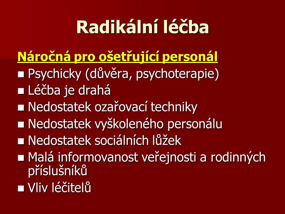 Radikální léčba Náročná pro ošetřující personál Psychicky (důvěra, psychoterapie) Psychicky (důvěra, psychoterapie) Léčba je drahá Léčba je drahá Nedostatek ozařovací techniky Nedostatek ozařovací techniky Nedostatek vyškoleného personálu Nedostatek vyškoleného personálu Nedostatek sociálních lůžek Nedostatek sociálních lůžek Malá informovanost veřejnosti a rodinných příslušníků Malá informovanost veřejnosti a rodinných příslušníků Vliv léčitelů Vliv léčitelů