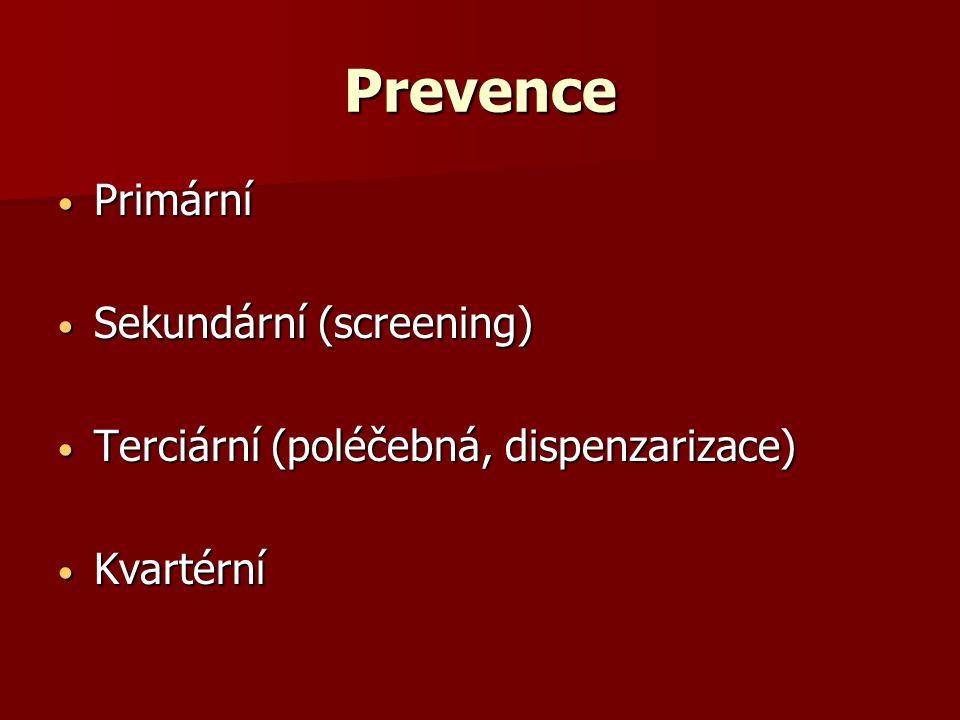 Prevence Primární Primární Sekundární (screening) Sekundární (screening) Terciární (poléčebná, dispenzarizace) Terciární (poléčebná, dispenzarizace) Kvartérní Kvartérní