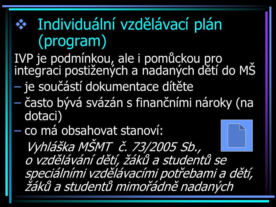  Individuální vzdělávací plán (program) IVP je podmínkou, ale i pomůckou pro integraci postižených a nadaných dětí do MŠ –je součástí dokumentace dít
