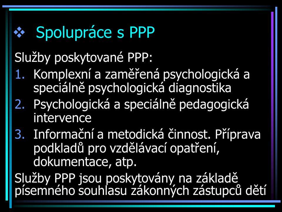  Spolupráce s PPP Služby poskytované PPP: 1.Komplexní a zaměřená psychologická a speciálně psychologická diagnostika 2.Psychologická a speciálně peda