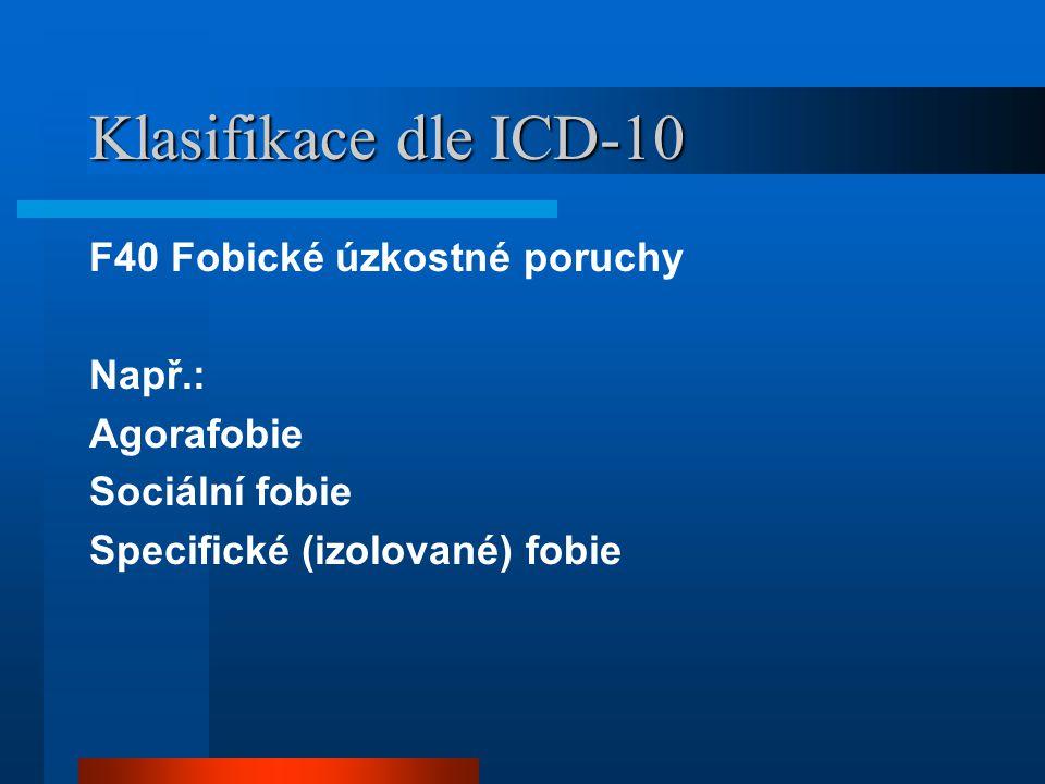 Klasifikace dle ICD-10 F40 Fobické úzkostné poruchy Např.: Agorafobie Sociální fobie Specifické (izolované) fobie
