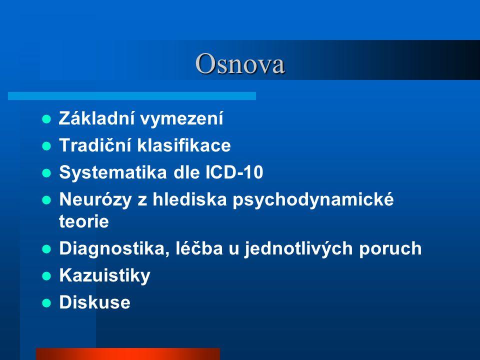 Osnova Základní vymezení Tradiční klasifikace Systematika dle ICD-10 Neurózy z hlediska psychodynamické teorie Diagnostika, léčba u jednotlivých poruch Kazuistiky Diskuse