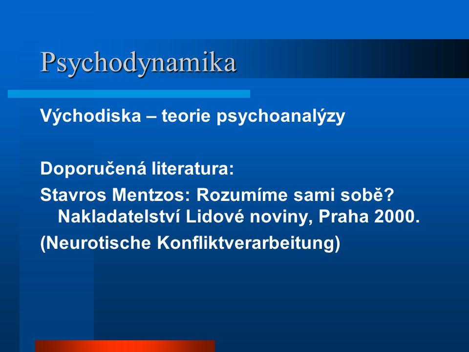 Psychodynamika Východiska – teorie psychoanalýzy Doporučená literatura: Stavros Mentzos: Rozumíme sami sobě.