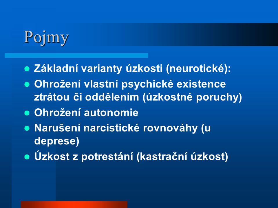 Pojmy Základní varianty úzkosti (neurotické): Ohrožení vlastní psychické existence ztrátou či oddělením (úzkostné poruchy) Ohrožení autonomie Narušení
