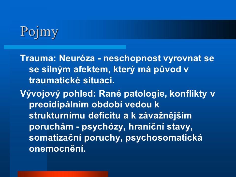 Pojmy Trauma: Neuróza - neschopnost vyrovnat se se silným afektem, který má původ v traumatické situaci. Vývojový pohled: Rané patologie, konflikty v