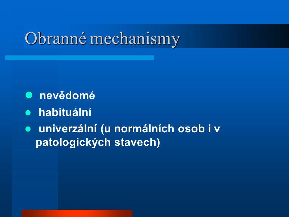 Obranné mechanismy nevědomé habituální univerzální (u normálních osob i v patologických stavech)