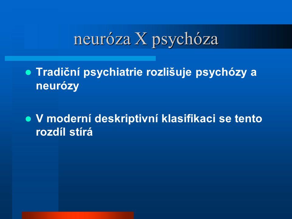 neuróza X psychóza Tradiční psychiatrie rozlišuje psychózy a neurózy V moderní deskriptivní klasifikaci se tento rozdíl stírá