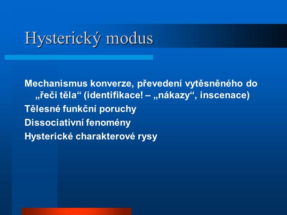 """Hysterický modus Mechanismus konverze, převedení vytěsněného do """"řeči těla"""" (identifikace! – """"nákazy"""", inscenace) Tělesné funkční poruchy Dissociativn"""
