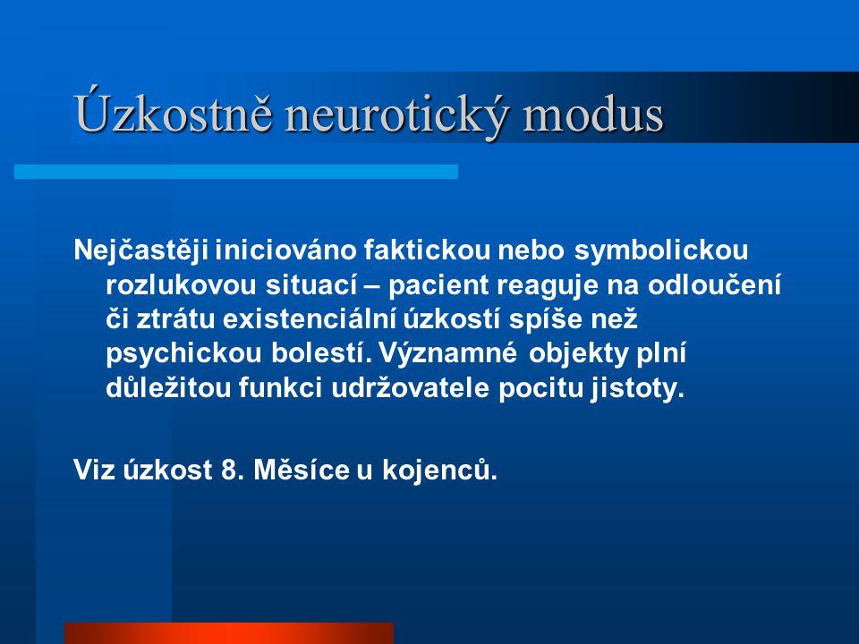 Úzkostně neurotický modus Nejčastěji iniciováno faktickou nebo symbolickou rozlukovou situací – pacient reaguje na odloučení či ztrátu existenciální ú