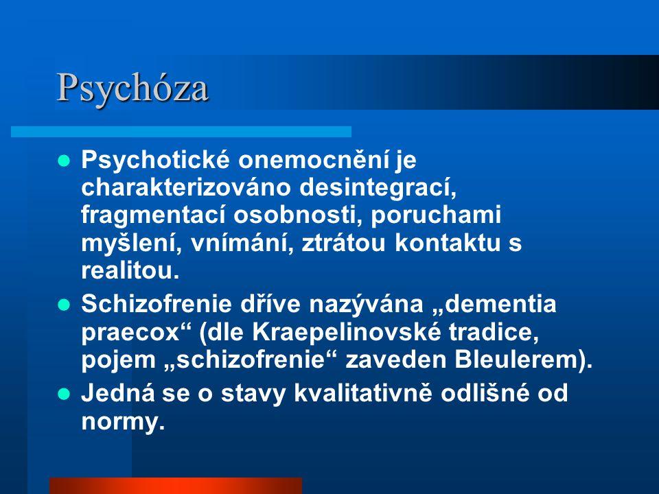 Psychóza Psychotické onemocnění je charakterizováno desintegrací, fragmentací osobnosti, poruchami myšlení, vnímání, ztrátou kontaktu s realitou. Schi