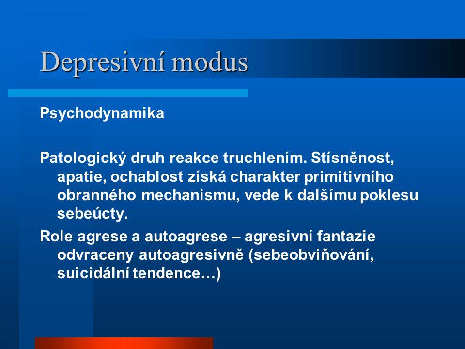 Depresivní modus Psychodynamika Patologický druh reakce truchlením.