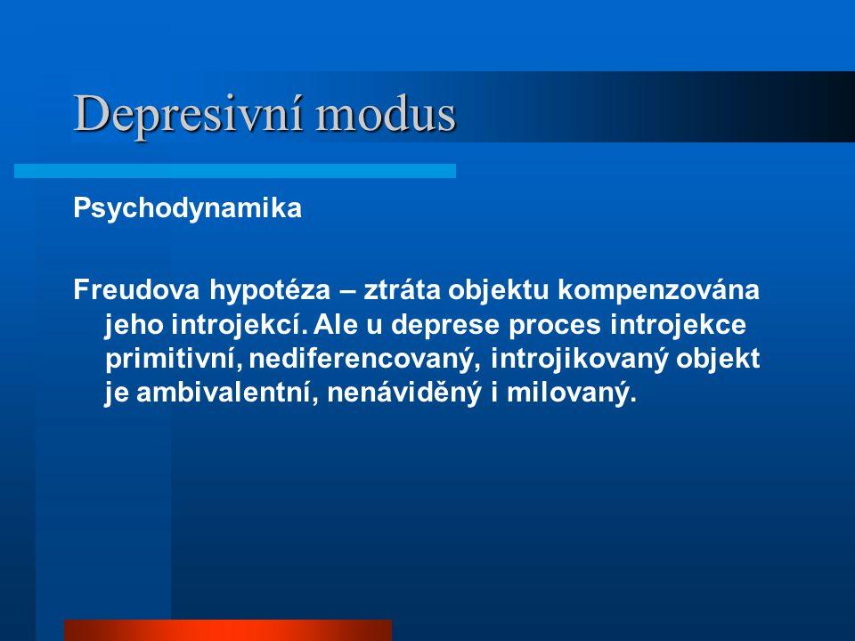 Depresivní modus Psychodynamika Freudova hypotéza – ztráta objektu kompenzována jeho introjekcí. Ale u deprese proces introjekce primitivní, nediferen