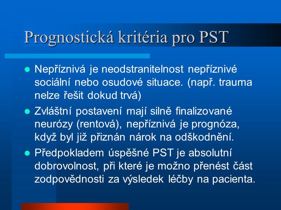 Prognostická kritéria pro PST Nepříznivá je neodstranitelnost nepříznivé sociální nebo osudové situace.
