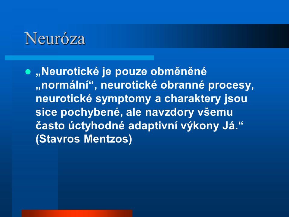 """Neuróza """"Neurotické je pouze obměněné """"normální , neurotické obranné procesy, neurotické symptomy a charaktery jsou sice pochybené, ale navzdory všemu často úctyhodné adaptivní výkony Já. (Stavros Mentzos)"""