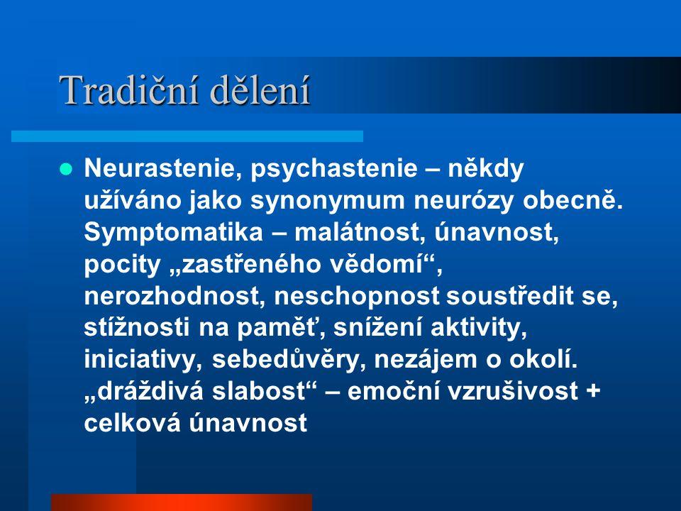 """Tradiční dělení Neurastenie, psychastenie – někdy užíváno jako synonymum neurózy obecně. Symptomatika – malátnost, únavnost, pocity """"zastřeného vědomí"""
