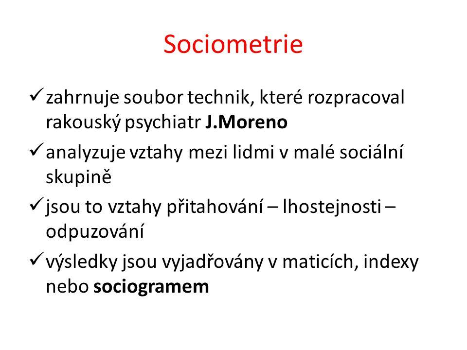 Sociometrie zahrnuje soubor technik, které rozpracoval rakouský psychiatr J.Moreno analyzuje vztahy mezi lidmi v malé sociální skupině jsou to vztahy přitahování – lhostejnosti – odpuzování výsledky jsou vyjadřovány v maticích, indexy nebo sociogramem