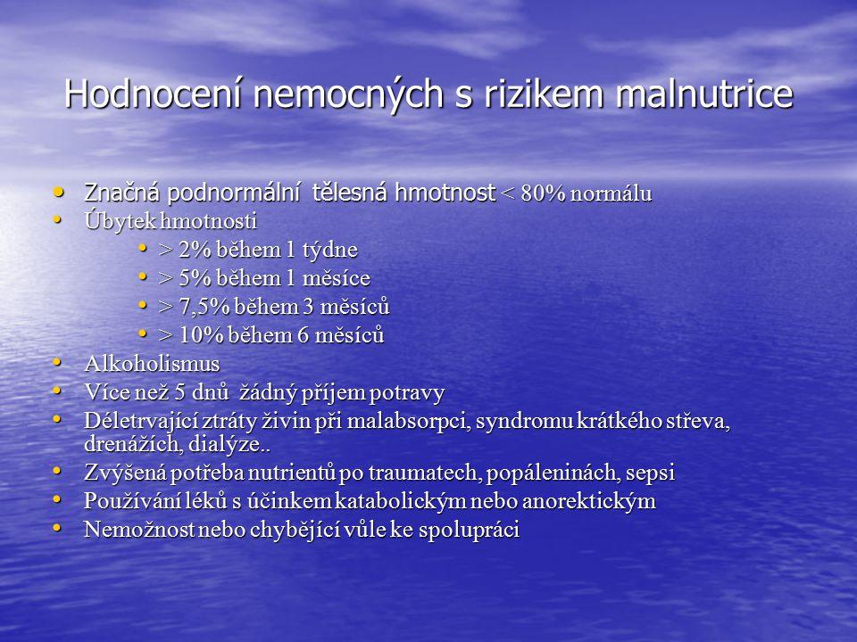 Hodnocení nemocných s rizikem malnutrice Značná podnormální tělesná hmotnost < 80% normálu Značná podnormální tělesná hmotnost < 80% normálu Úbytek hm