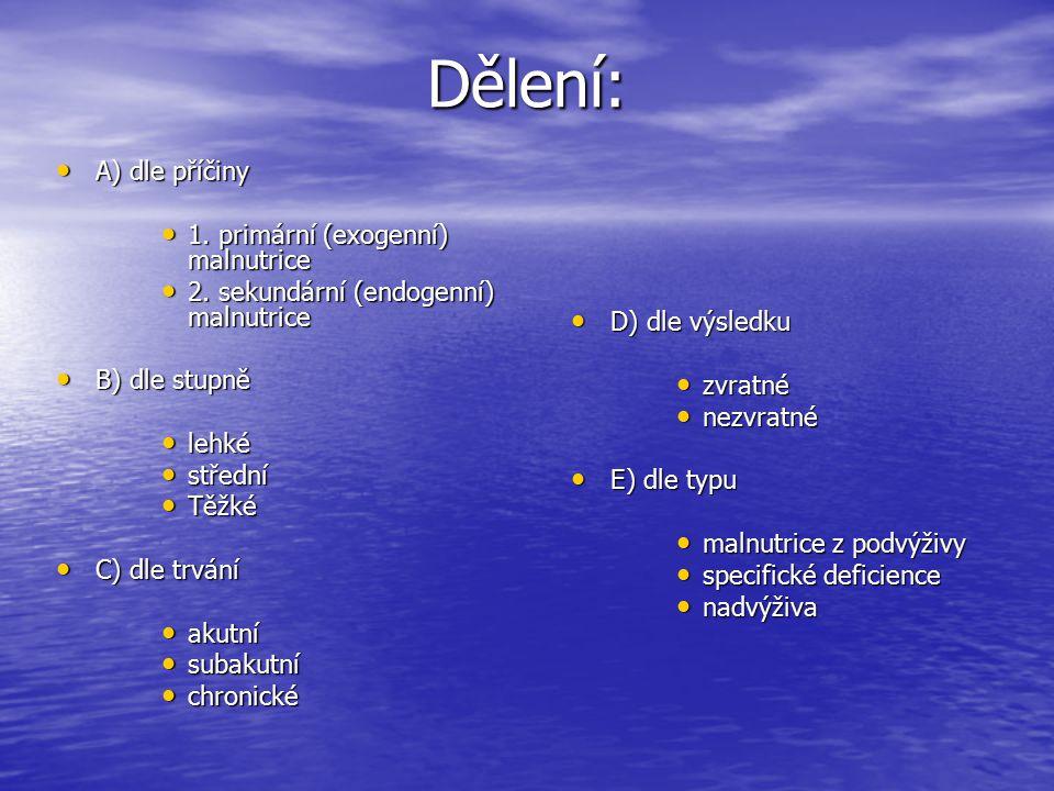 Dělení: A) dle příčiny A) dle příčiny 1. primární (exogenní) malnutrice 1. primární (exogenní) malnutrice 2. sekundární (endogenní) malnutrice 2. seku