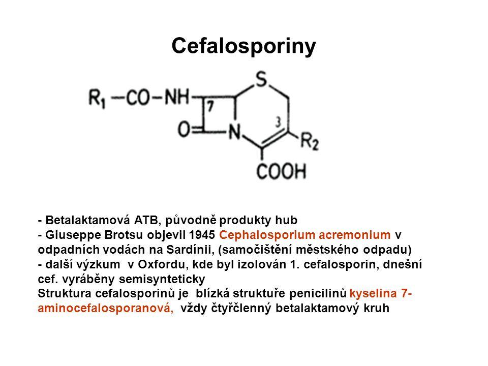Cefalosporiny - Betalaktamová ATB, původně produkty hub - Giuseppe Brotsu objevil 1945 Cephalosporium acremonium v odpadních vodách na Sardínii, (samo