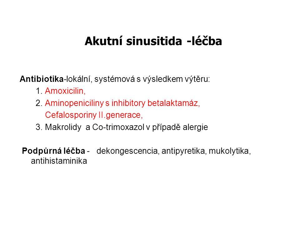 Akutní sinusitida -léčba Antibiotika-lokální, systémová s výsledkem výtěru: 1. Amoxicilin, 2. Aminopeniciliny s inhibitory betalaktamáz, Cefalosporiny