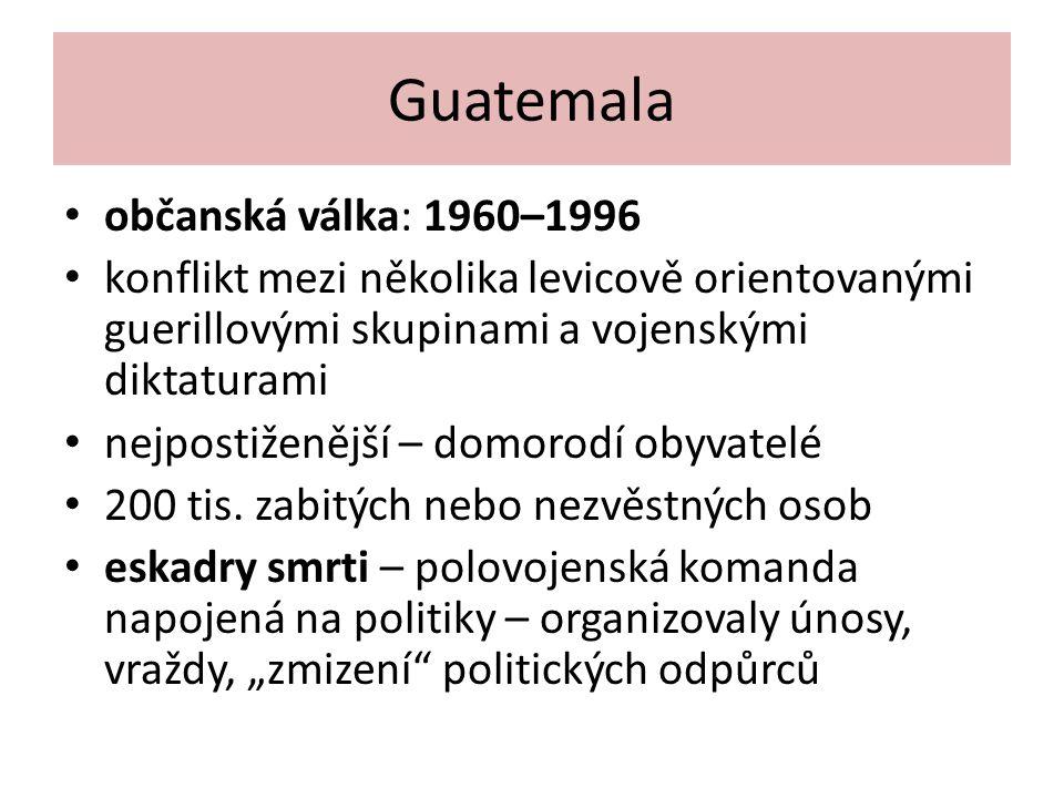 Guatemala občanská válka: 1960–1996 konflikt mezi několika levicově orientovanými guerillovými skupinami a vojenskými diktaturami nejpostiženější – do
