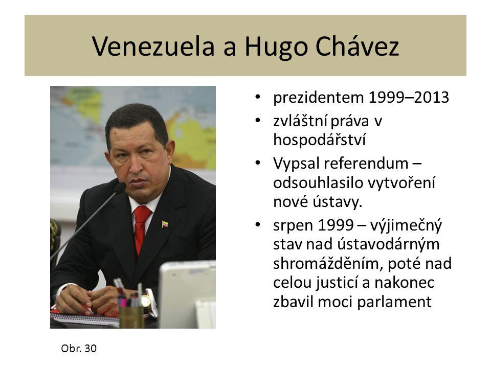 Venezuela a Hugo Chávez prezidentem 1999–2013 zvláštní práva v hospodářství Vypsal referendum – odsouhlasilo vytvoření nové ústavy. srpen 1999 – výjim