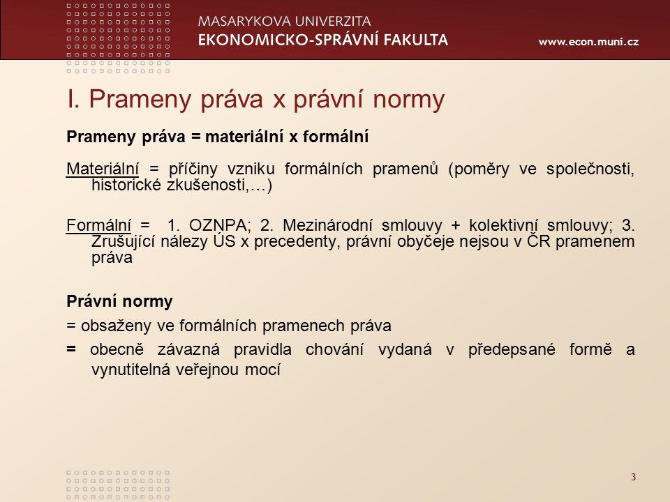 www.econ.muni.cz 3 I. Prameny práva x právní normy Prameny práva = materiální x formální Materiální = příčiny vzniku formálních pramenů (poměry ve spo