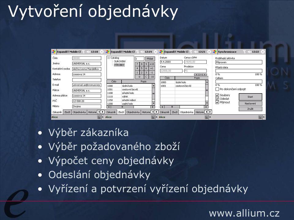 www.allium.cz Vytvoření objednávky Výběr zákazníka Výběr požadovaného zboží Výpočet ceny objednávky Odeslání objednávky Vyřízení a potvrzení vyřízení