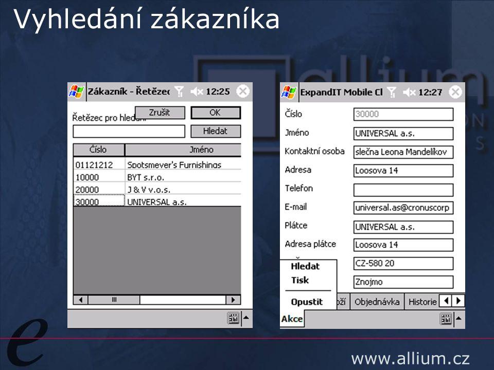 www.allium.cz Vyhledání zákazníka