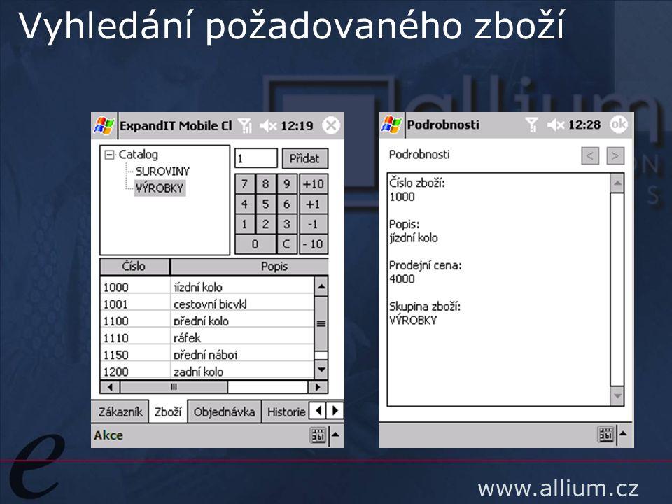 www.allium.cz Vyhledání požadovaného zboží