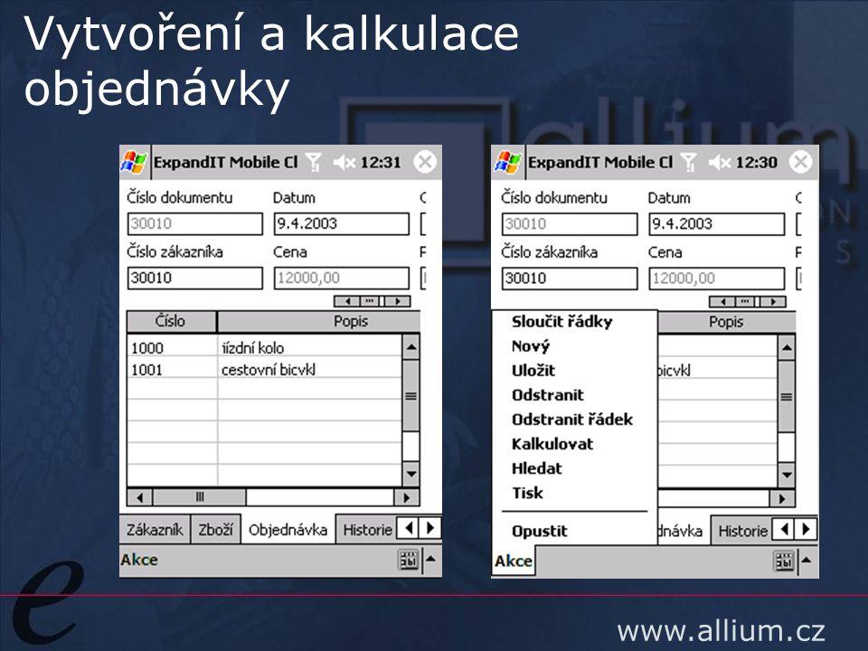 www.allium.cz Vytvoření a kalkulace objednávky