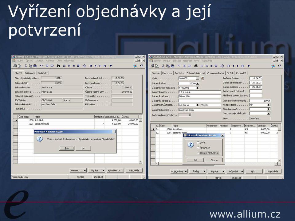 www.allium.cz Vyřízení objednávky a její potvrzení