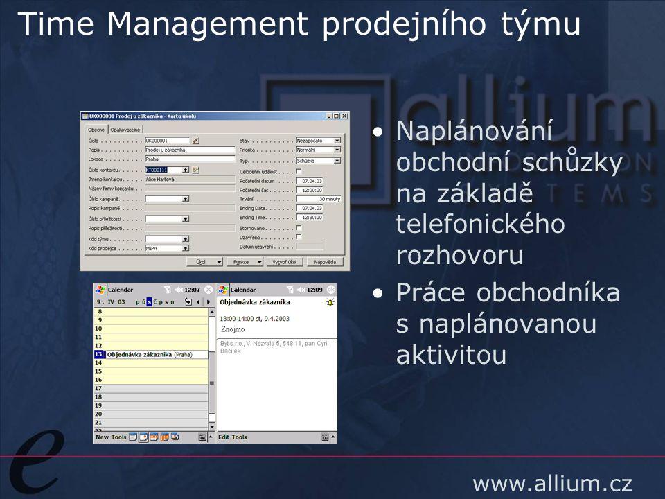 www.allium.cz Time Management prodejního týmu Naplánování obchodní schůzky na základě telefonického rozhovoru Práce obchodníka s naplánovanou aktivito