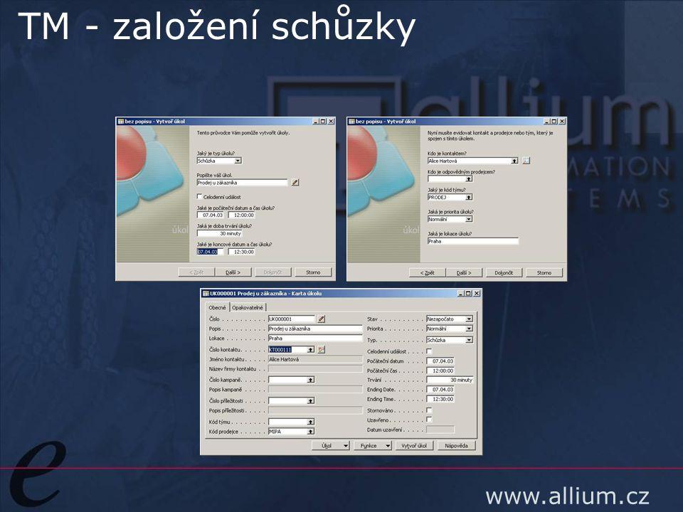www.allium.cz TM - založení schůzky