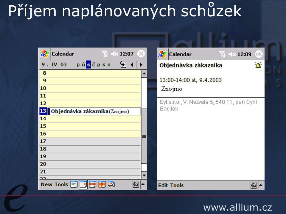 www.allium.cz Příjem naplánovaných schůzek
