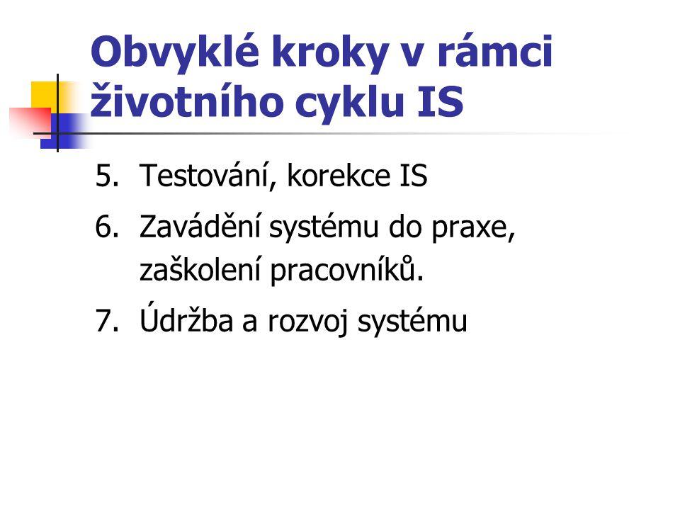 Obvyklé kroky v rámci životního cyklu IS 5. Testování, korekce IS 6. Zavádění systému do praxe, zaškolení pracovníků. 7. Údržba a rozvoj systému